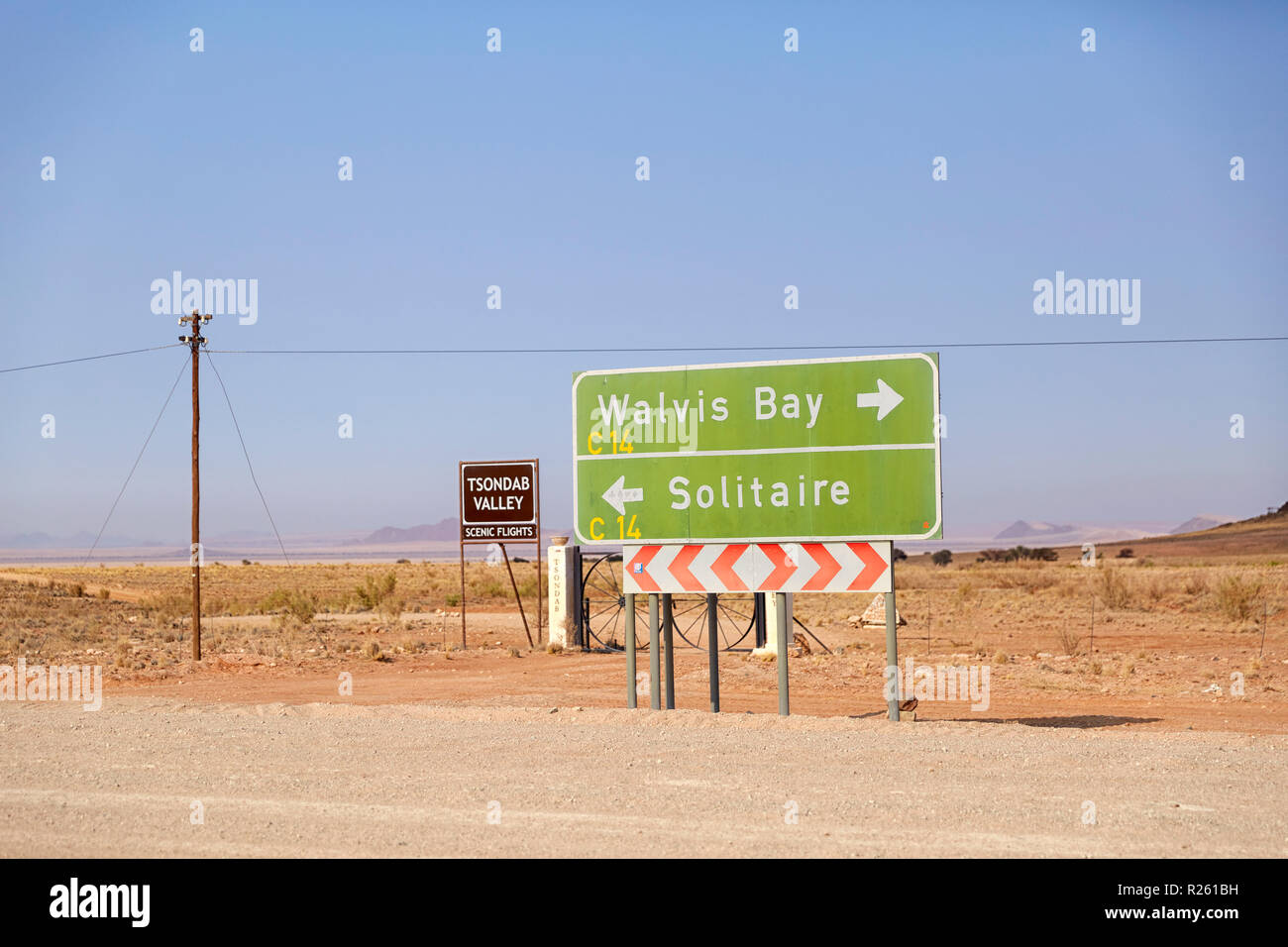 Walvis Bay and Solitaire direction sign on Route C 14  near Walvis Bay in Tsondab Valley in Namibia, Africa - Stock Image