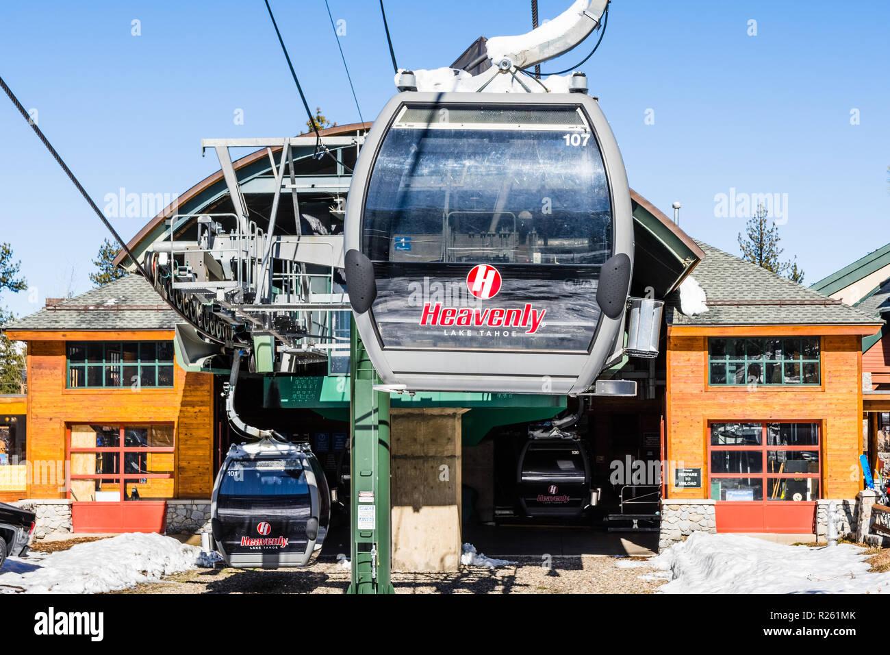 march 23, 2018 south lake tahoe / ca / usa - heavenly ski resort