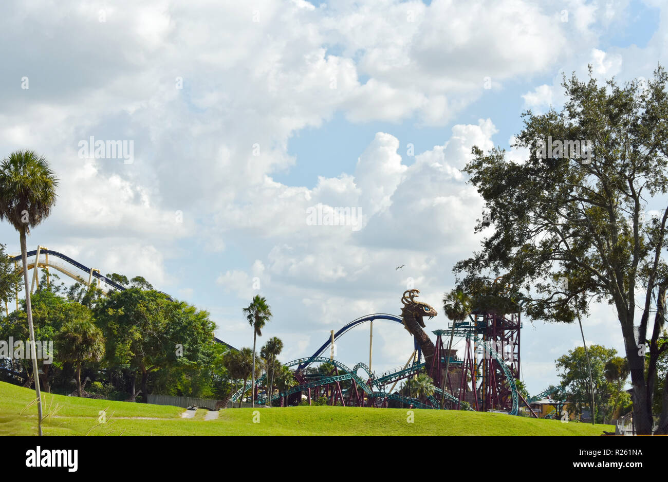 Tampa, Florida. October 06, 2018 Cobras Hunt Rollercoaster view from Serengetti Train at Bush Gardens Tampa Bay. - Stock Image