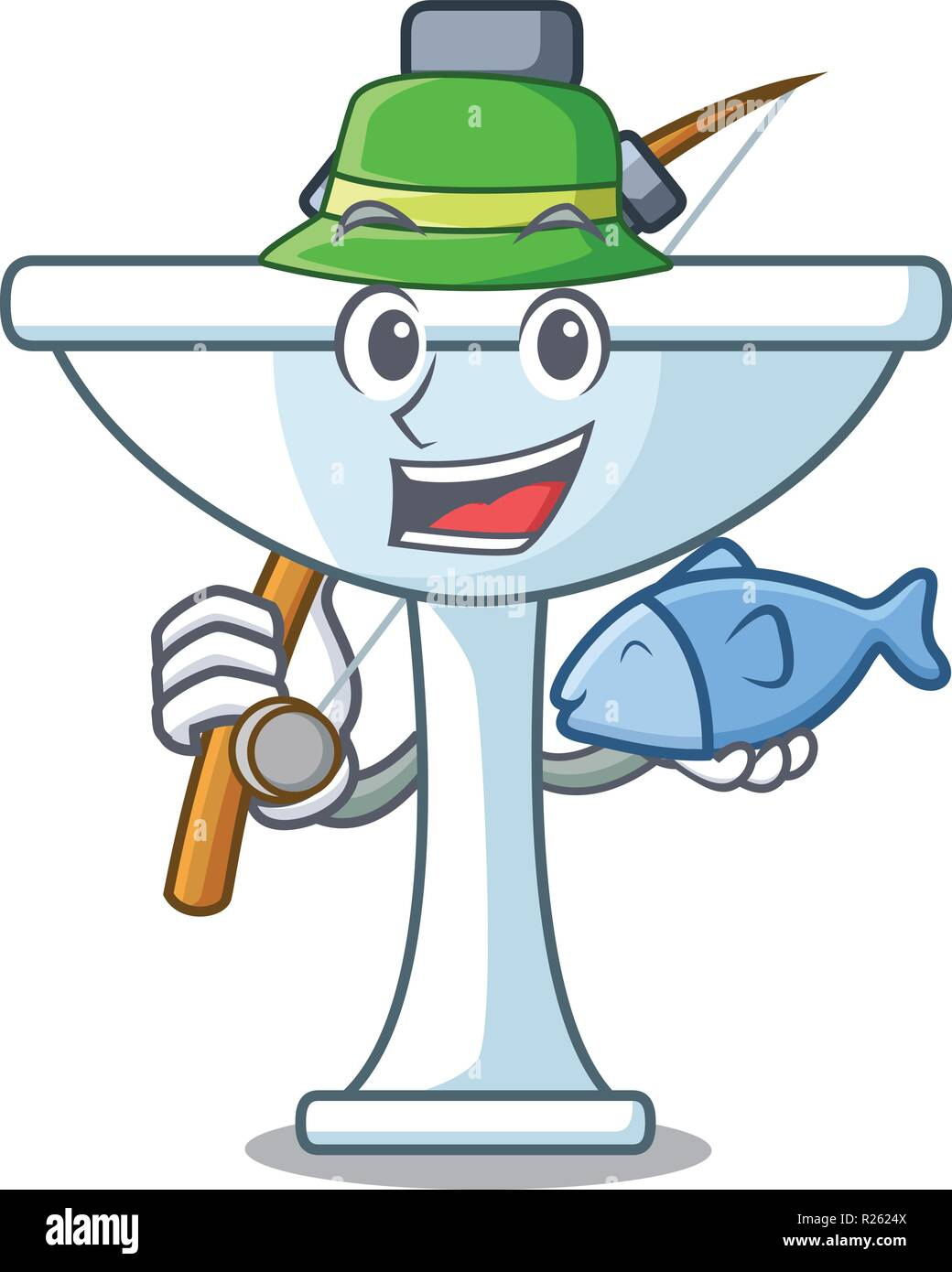 Fishing on bath room cartoon sink shape - Stock Image