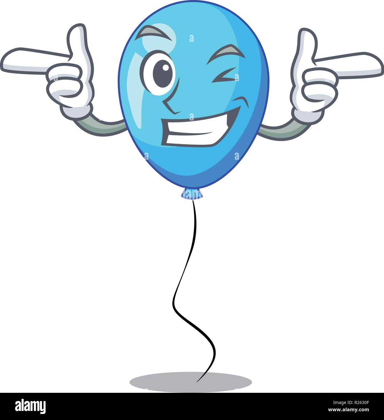 Wink blue balloon character on the rope - Stock Image