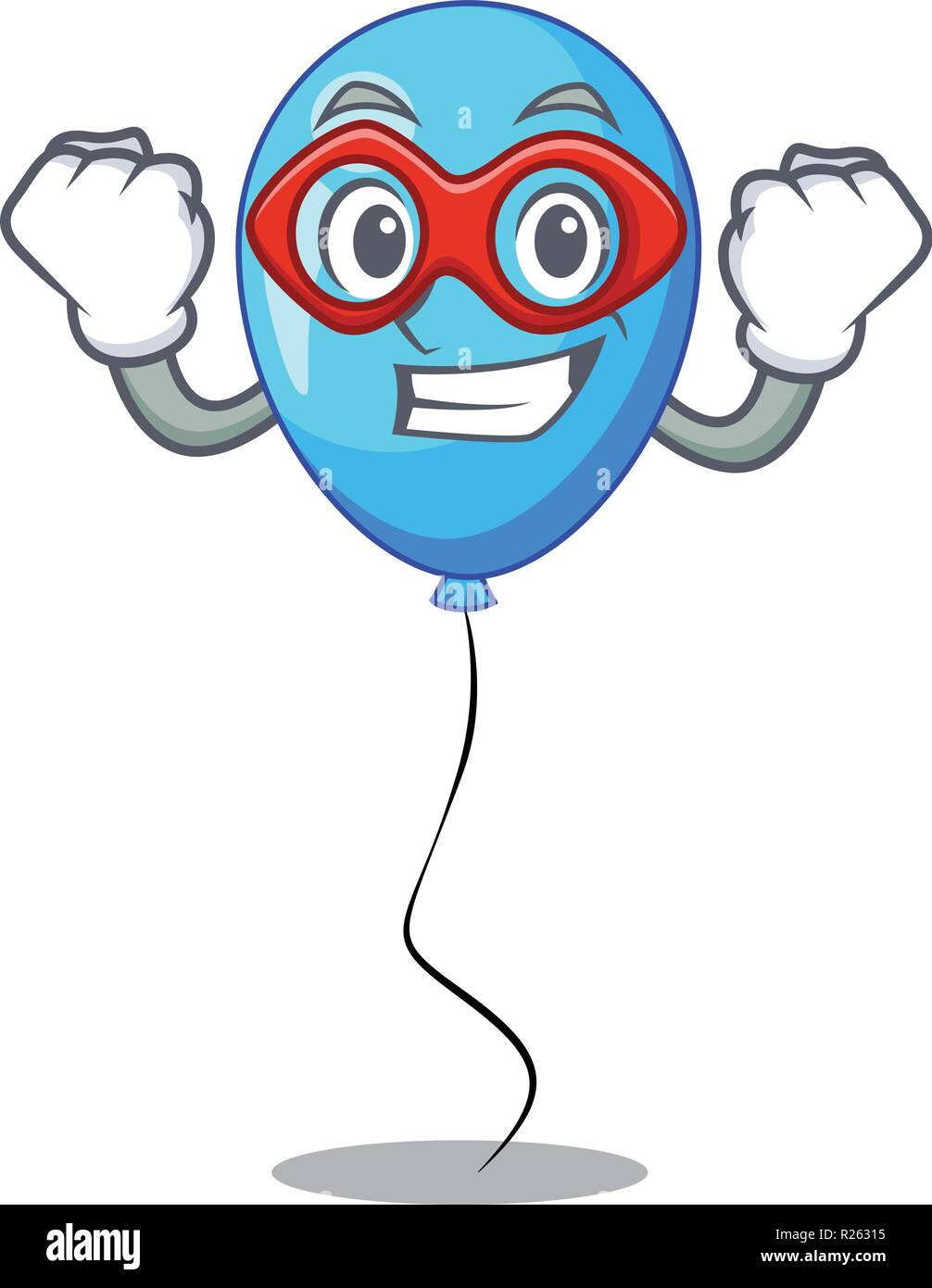 Super hero blue balloon character on the rope - Stock Vector