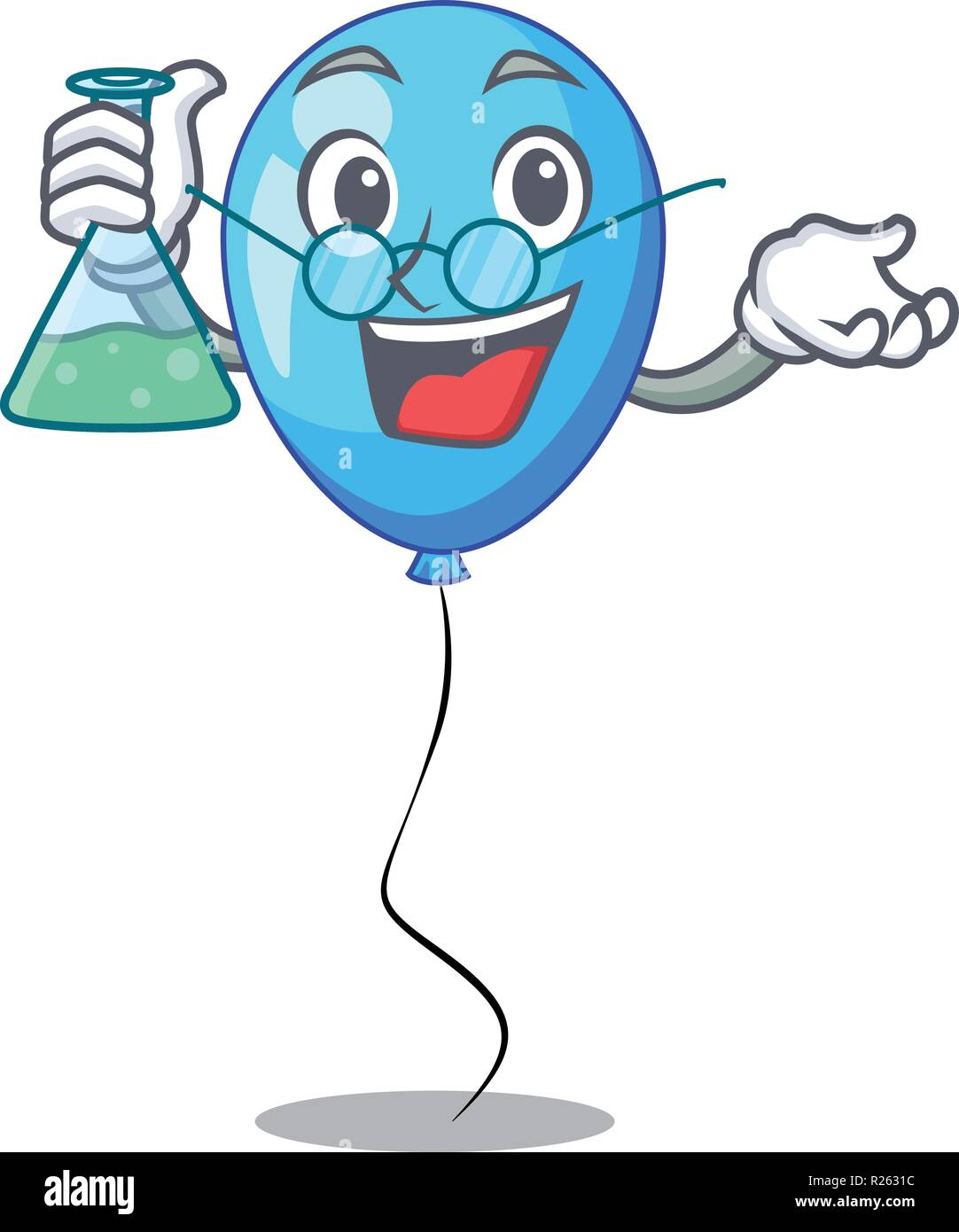 Professor blue balloon character on the rope - Stock Vector