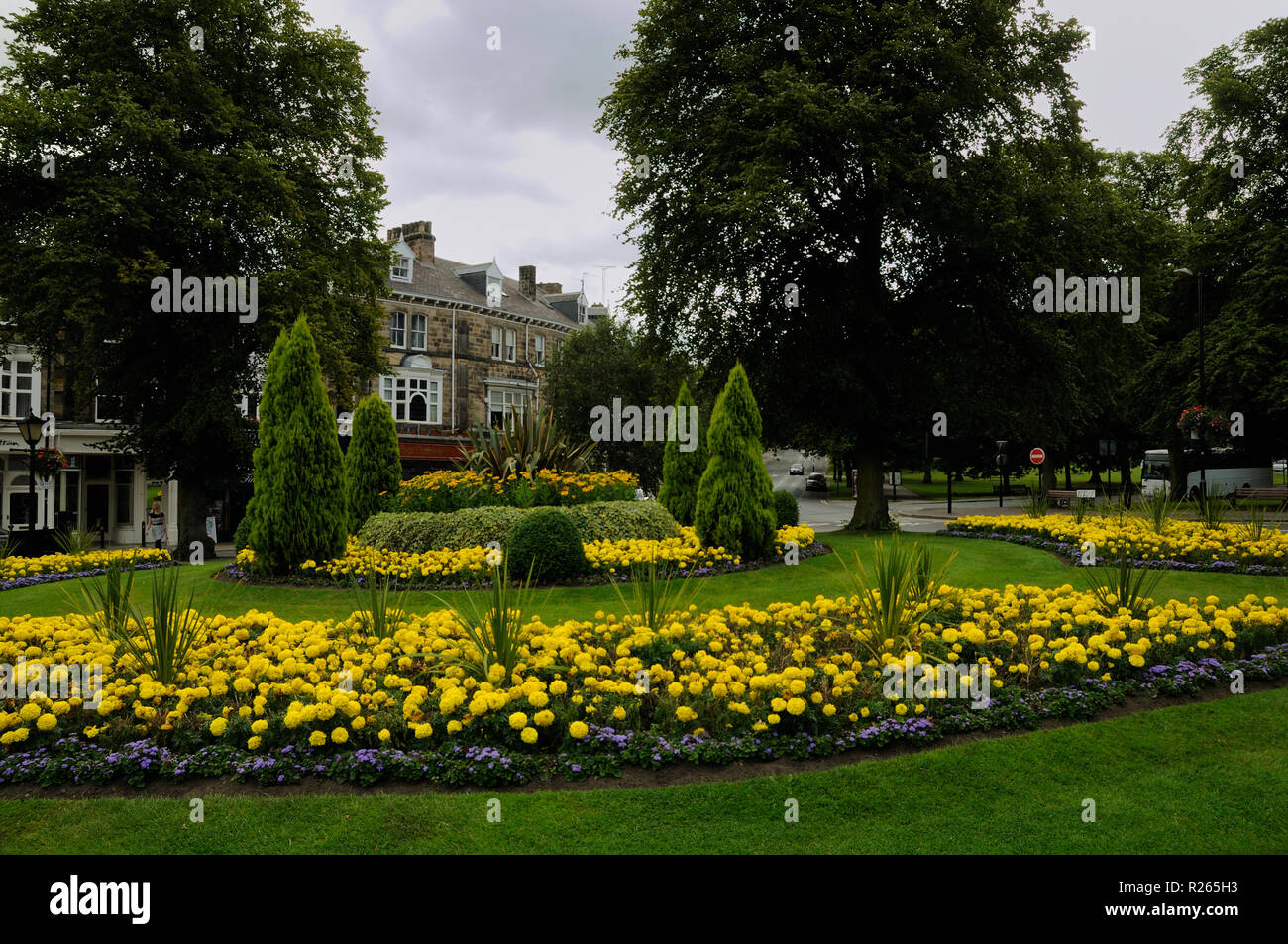 Floral display on a roundabout in the Montpellier Quarter, Harrogate, North Yorkshire, England Stock Photo