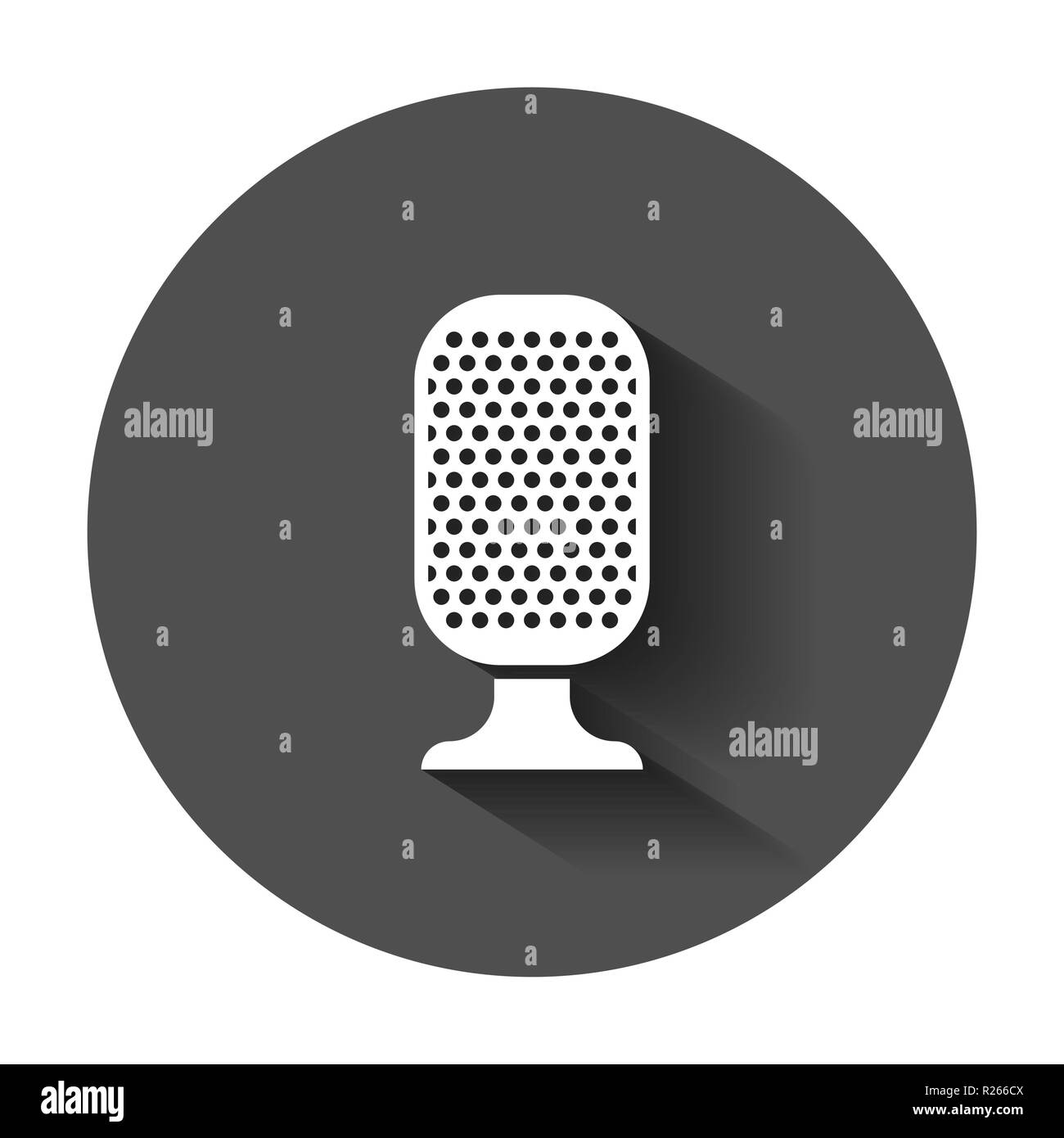 Microphone icon in flat style. Mic broadcast vector illustration with long shadow. Microphone mike speech business concept. - Stock Image