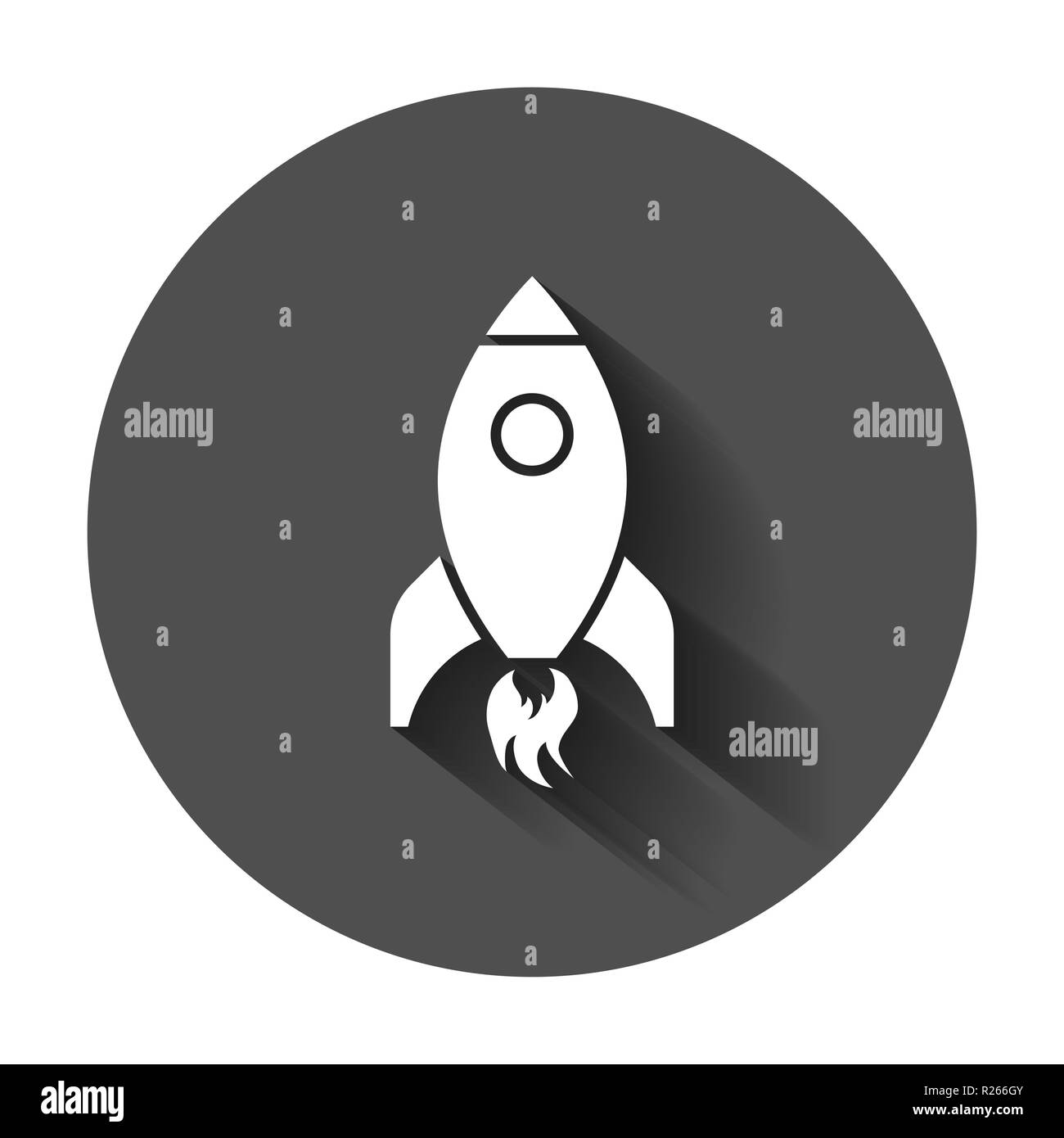 Rocket space ship icon in flat style  Spaceship vector
