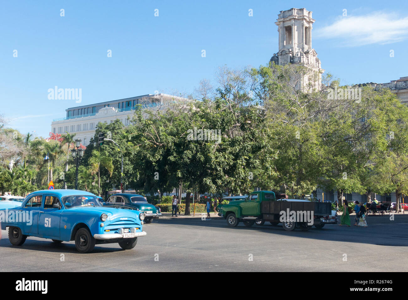 HAVANA, CUBA - JANUARY 16, 2017: Street scene with old american car in downtown Havana, Cuba Stock Photo