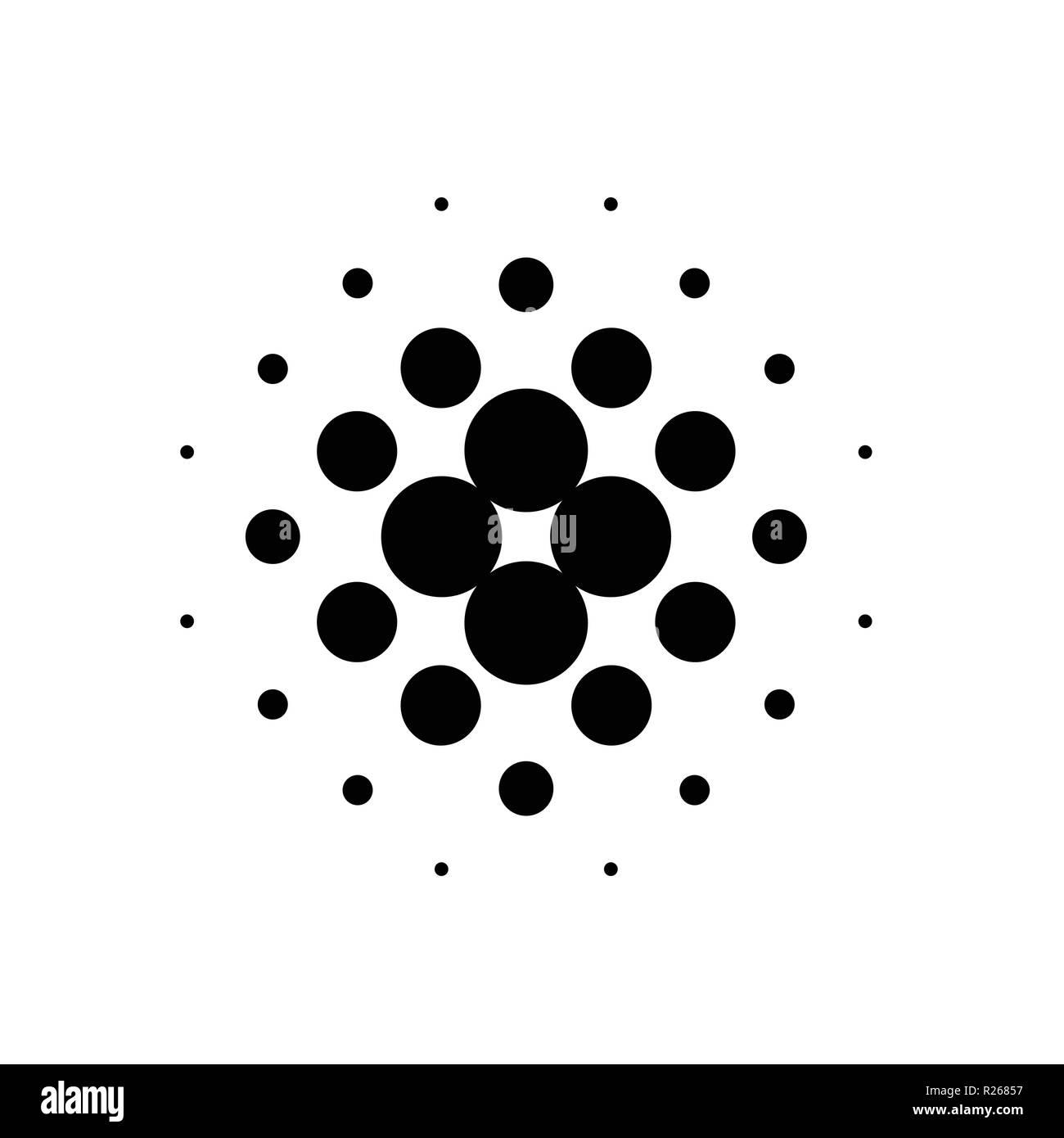 Black Dot Halftone Vector. Isolated on white background. Vector illustration - Stock Image