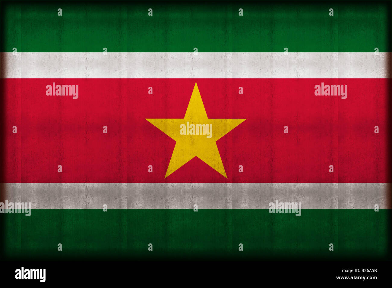 Suriname rusty flag illustration. Usable for background and texture. - Stock Image