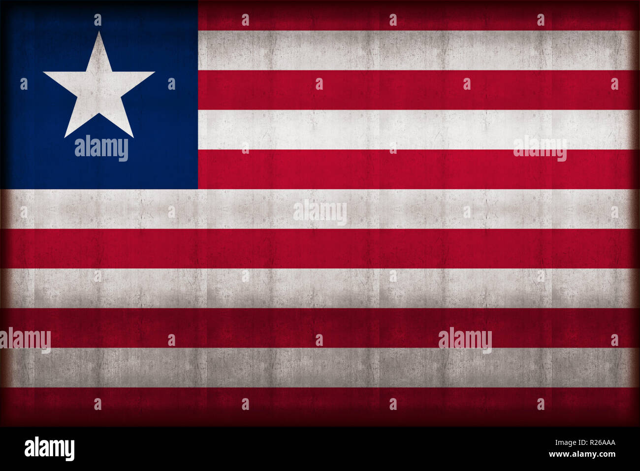 Liberia rusty flag illustration. Usable for background and texture. - Stock Image