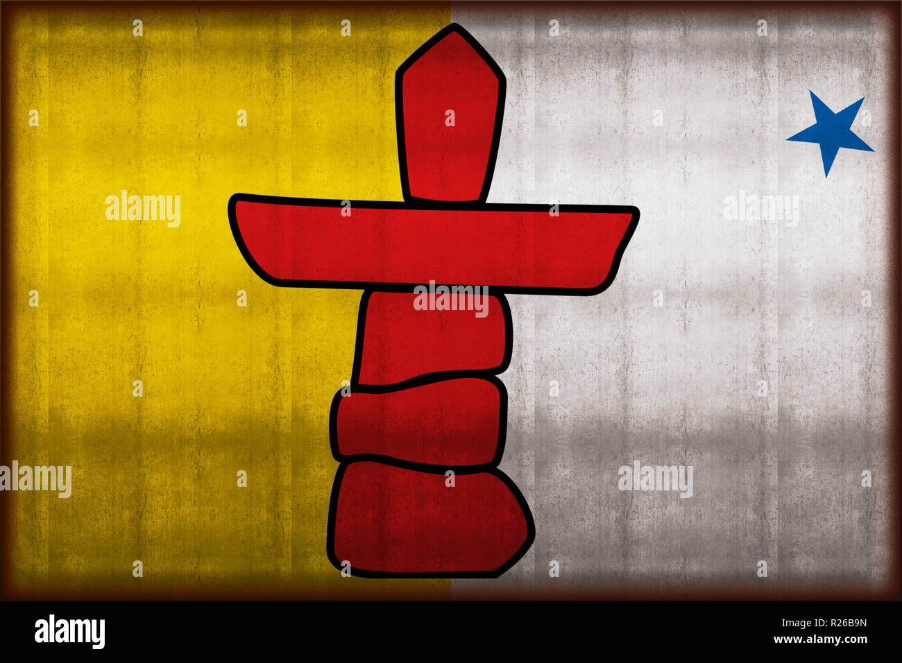Nunavut rusty flag illustration. Usable for background and texture. - Stock Image
