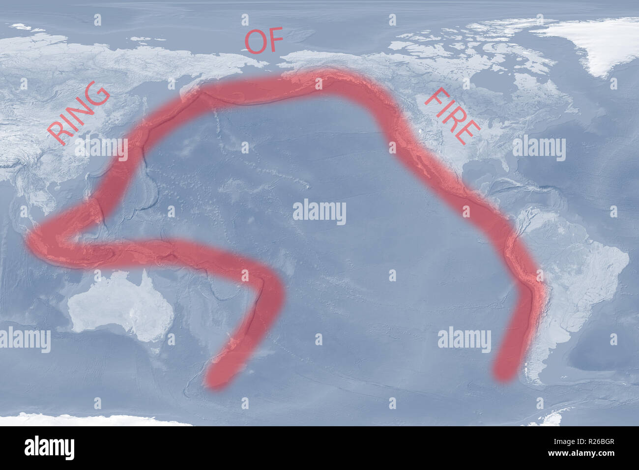 Pacific 'Ring of Fire' map (image for illustrative purposes only) - Stock Image