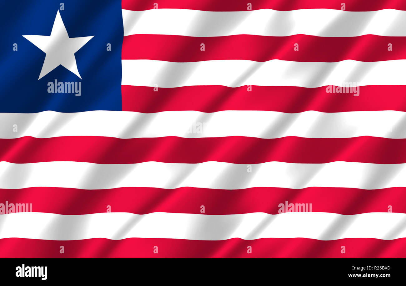 Liberia 3D waving flag illustration. Texture can be used as background. - Stock Image