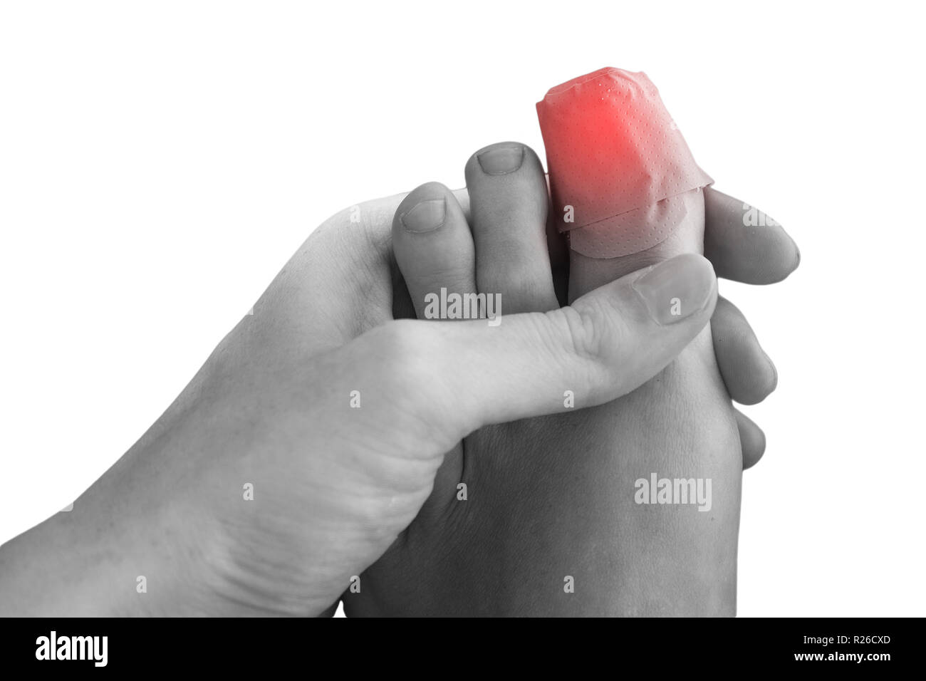 Hurt Toe with Band Plaster Aid Pain Concept - Stock Image