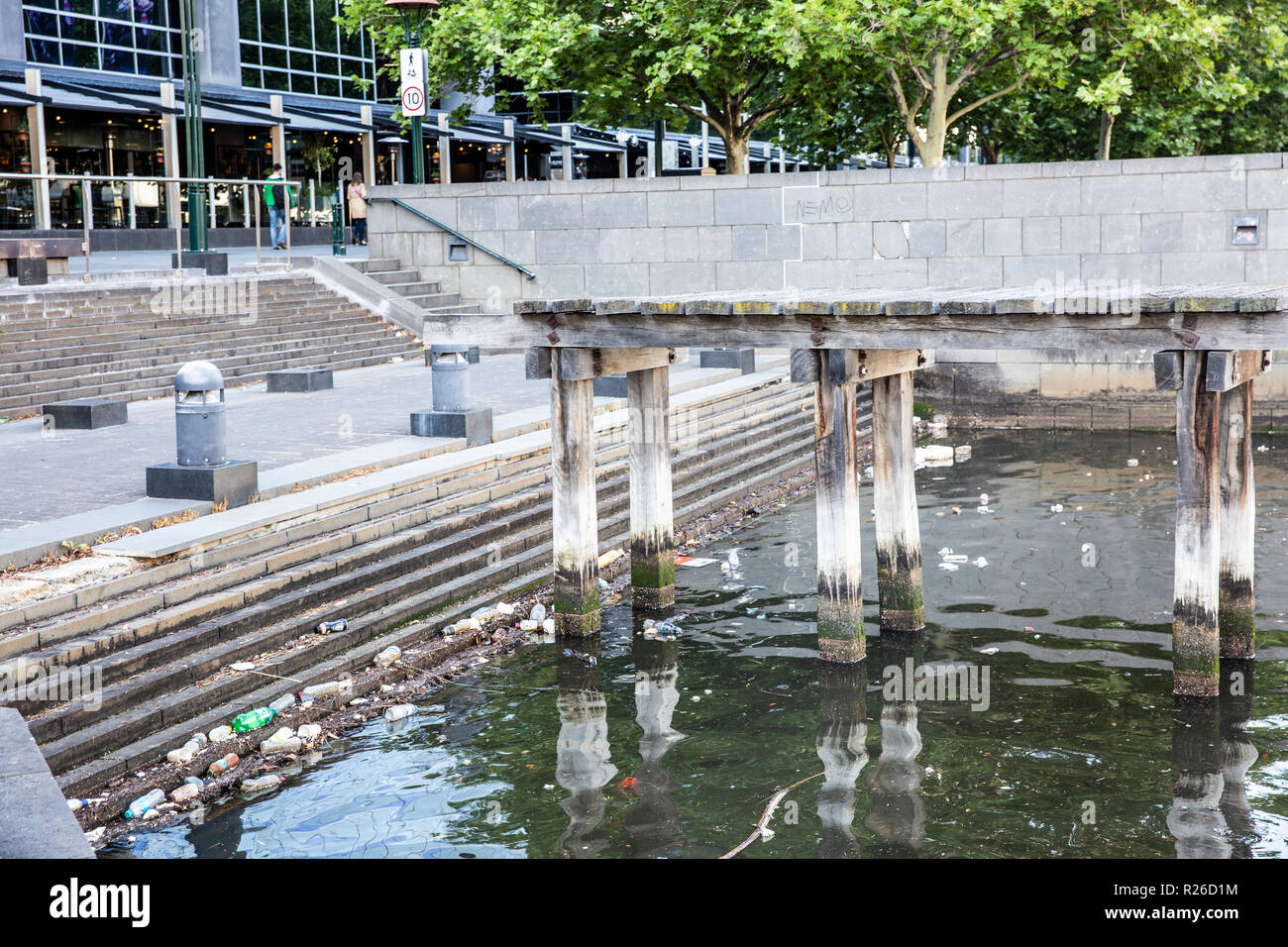 Plastic bottle pollution in the Yarra river in Melbourne,Victoria,Australia - Stock Image