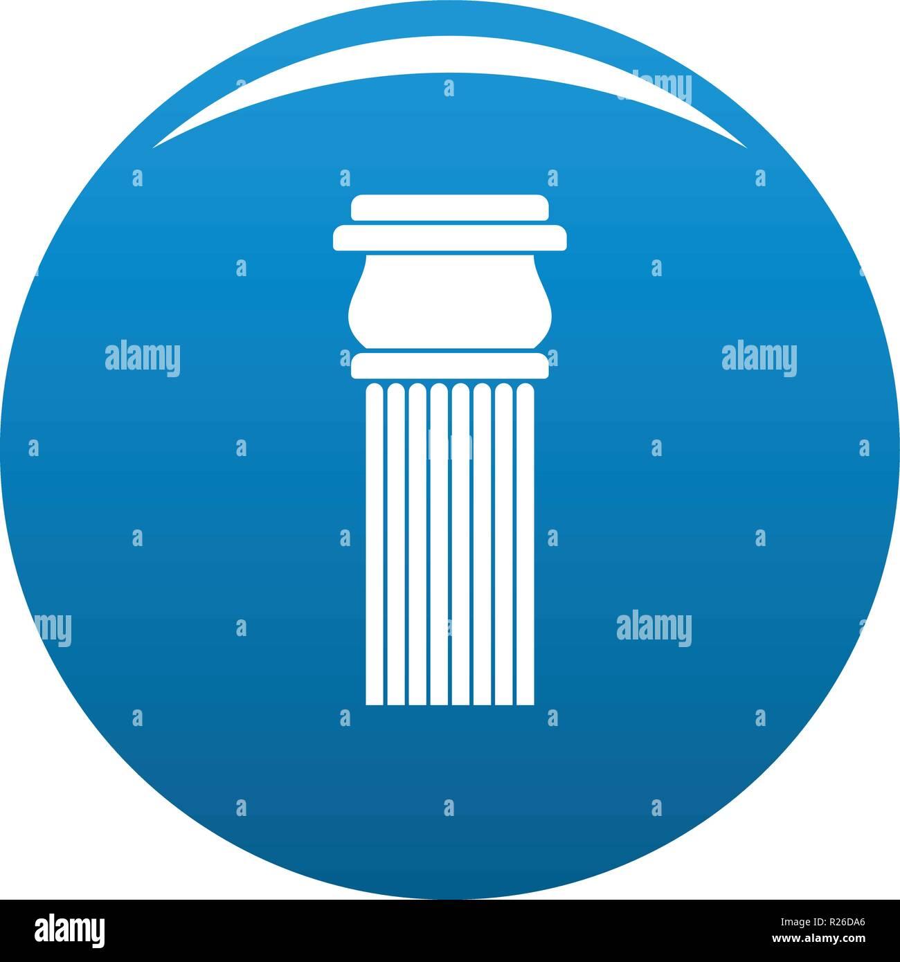 Stone column icon vector blue circle isolated on white background  - Stock Image