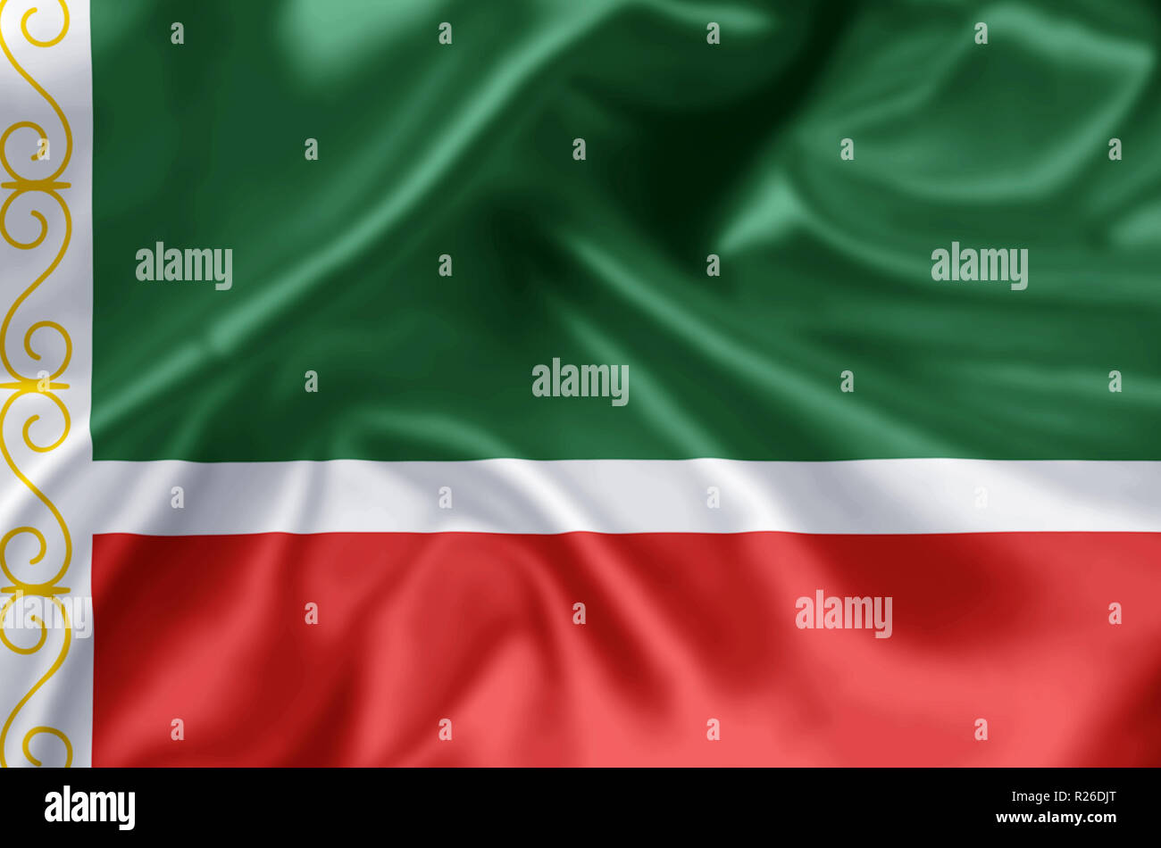 The Chechen Republic waving and closeup flag illustration. Perfect for background or texture purposes. - Stock Image