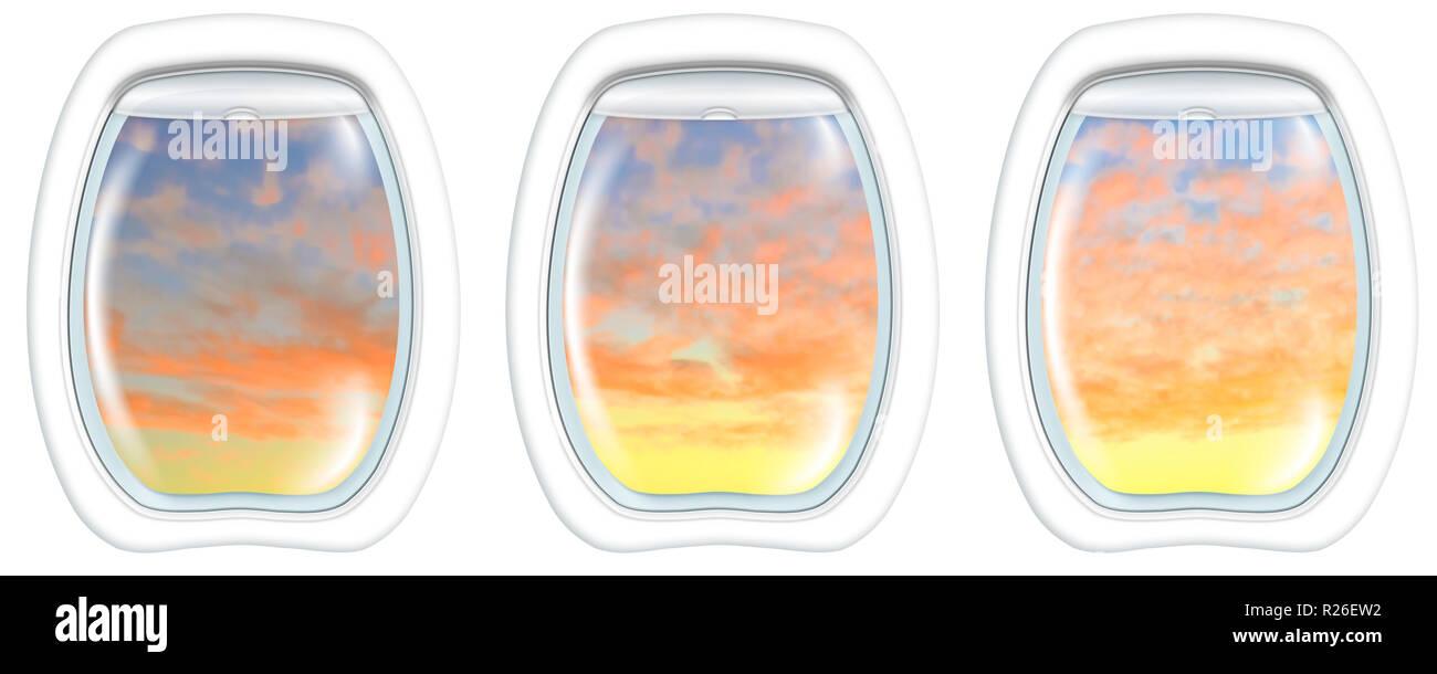 Three plane portholes on Perth sunset of Australia, from a plane on the portholes windows. Copy space. - Stock Image