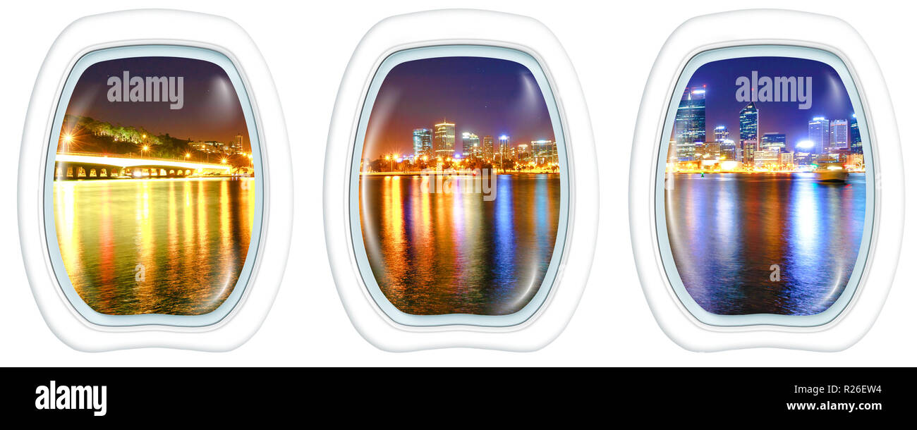Three plane windows on Narrows Bridge Perth Skyline at night. Perth Downtown cityscape reflecting on the Swan River from Mill point, Western Australia. Portholes windows. Copy space. - Stock Image
