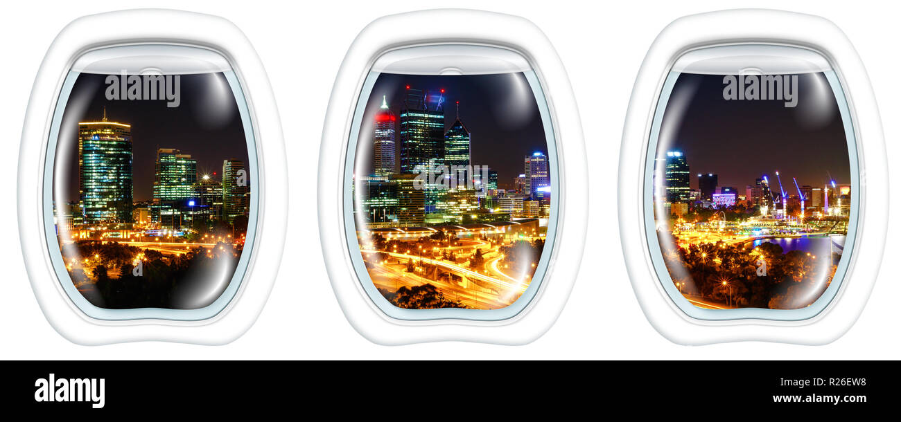 Three plane portholes on King's Park near of Perth Skyline with skyscrapers and light trails of traffic and Swan River. Perth, Western Australia, from a plane on the portholes windows. Copy space. - Stock Image