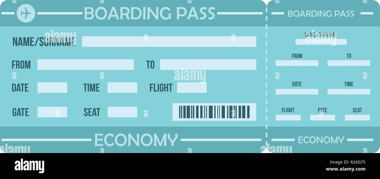 Boarding pass icon. Flat illustration of boarding pass vector icon for web - Stock Image