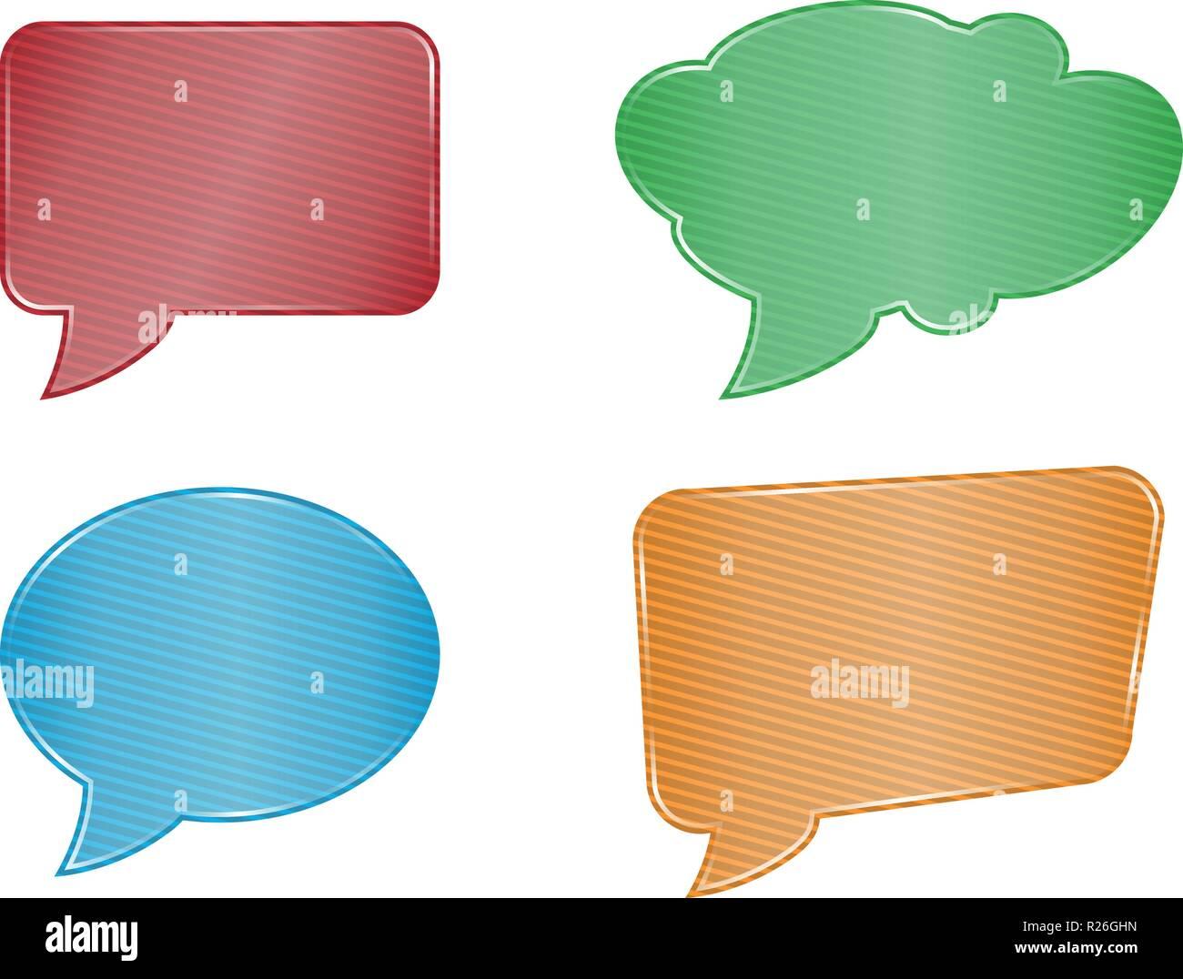colorfull speech bubble set on white background - Stock Image