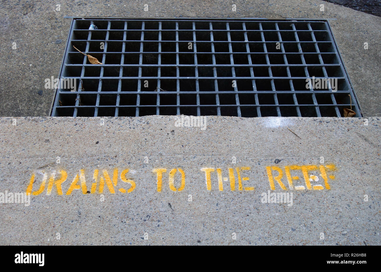 Stencilled sign reading Drains to Reef reminding people about runoff water quality, Cairns, Queensland, Australia. No PR - Stock Image