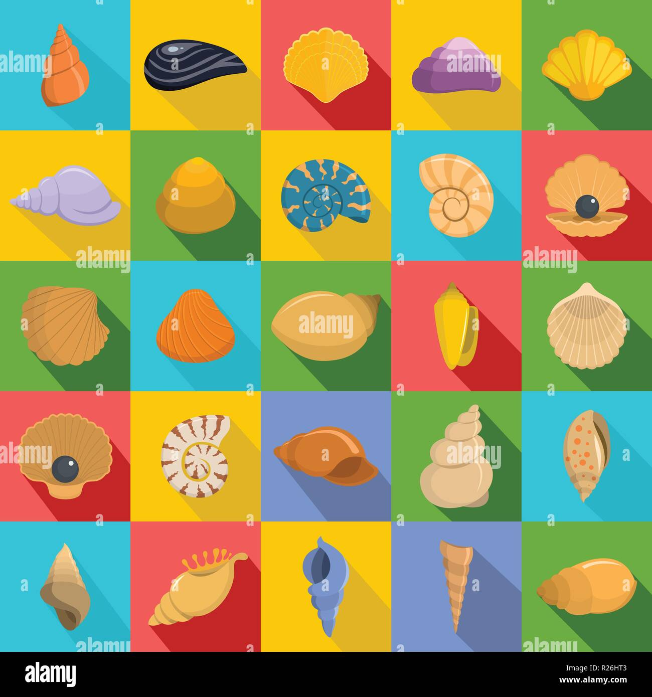 Sea shell icons set. Flat illustration of 25 Sea shell vector icons for web - Stock Vector
