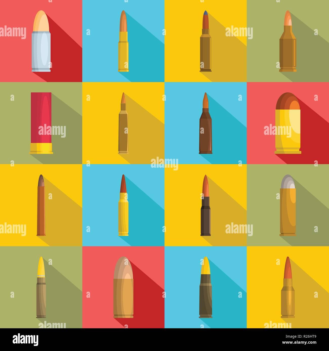 Bullet gun military icons set. Flat illustration of 16 bullet gun military vector icons for web - Stock Vector