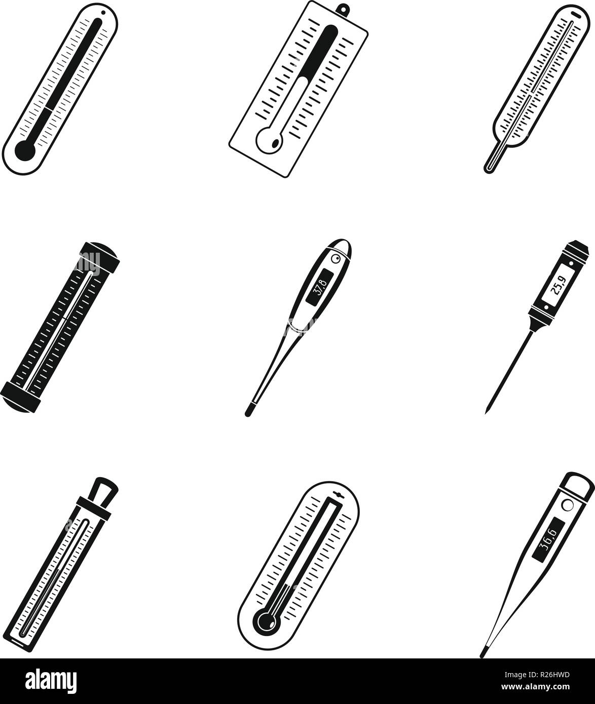 Thermometer temperature icons set. Simple illustration of 9 thermometer temperature vector icons for web - Stock Image