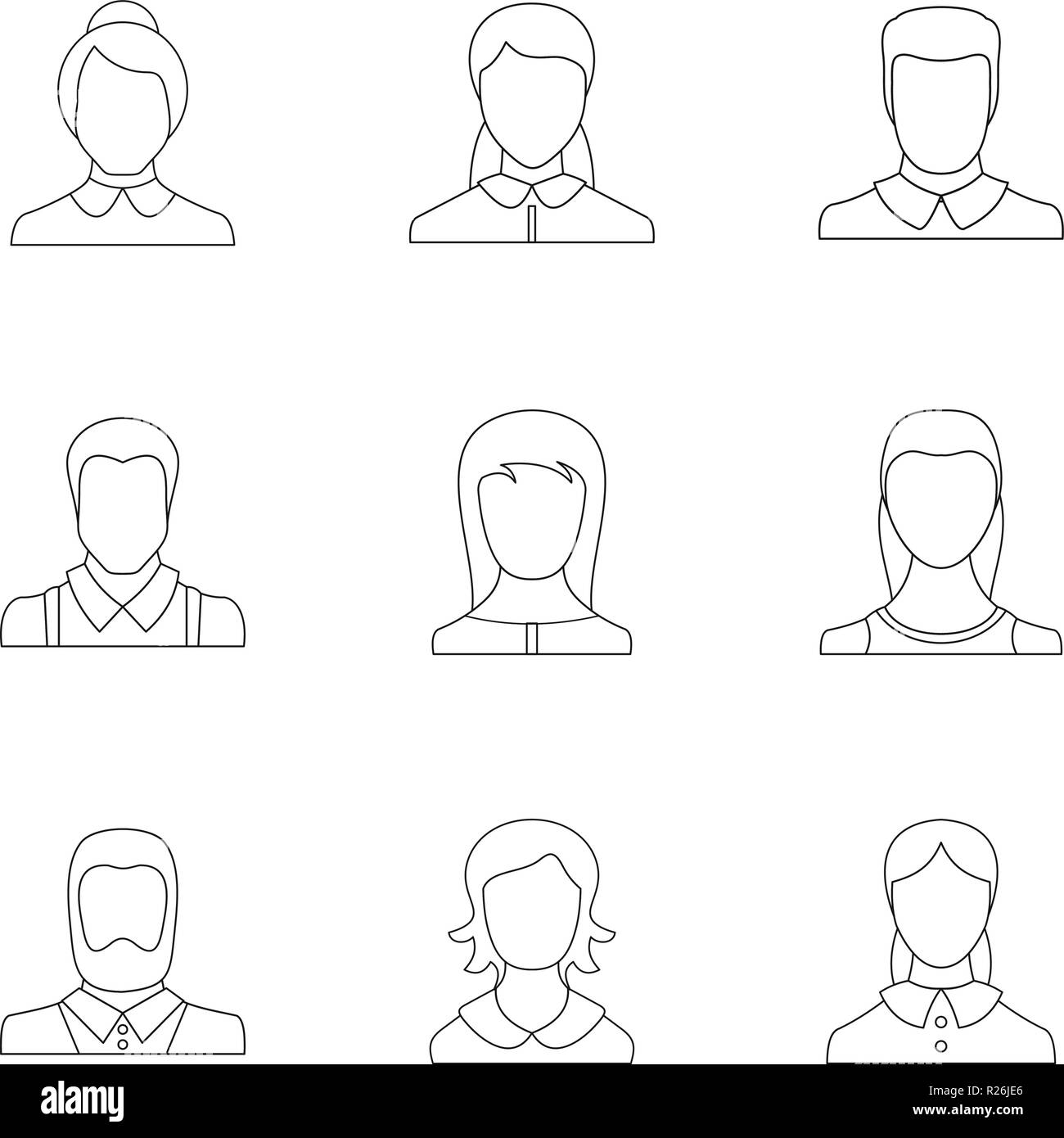 Visage icons set. Outline set of 9 visage vector icons for web isolated on white background - Stock Image