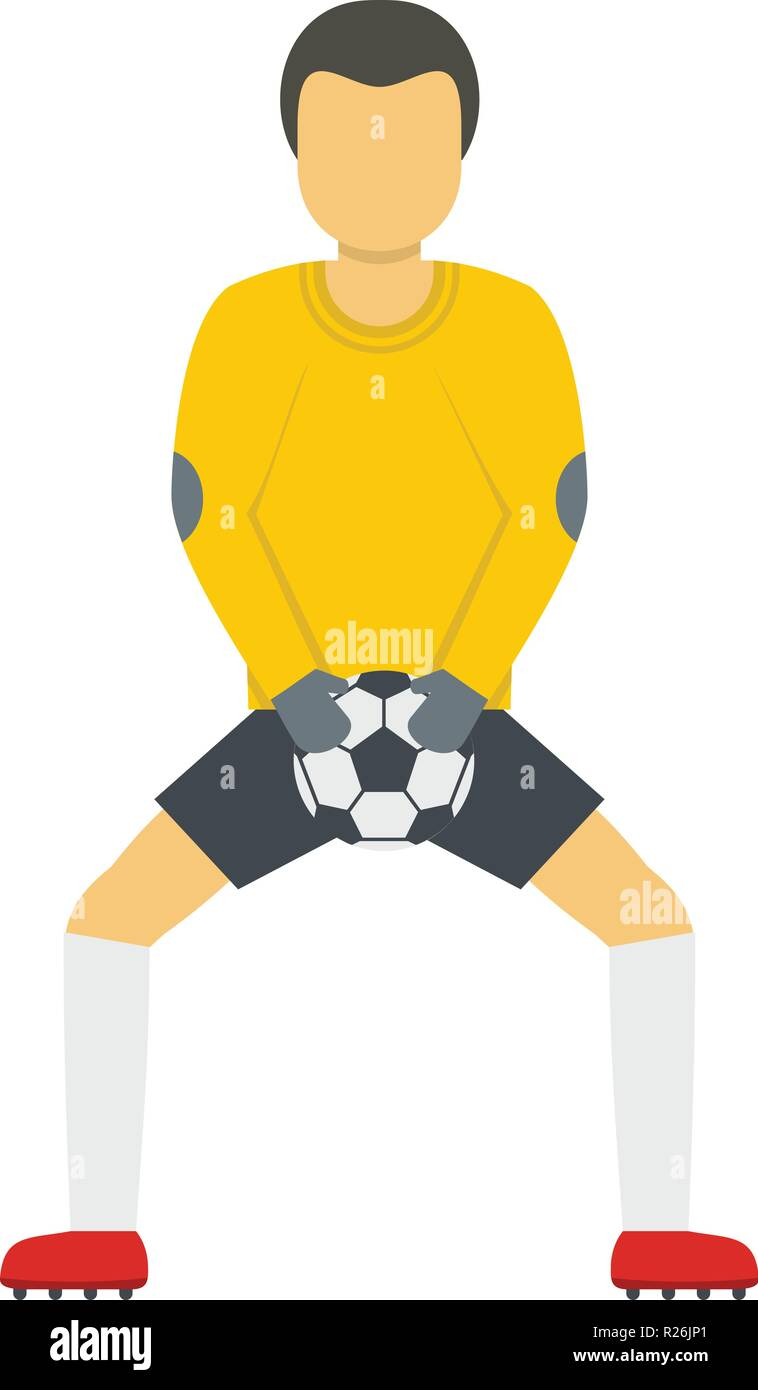 Goalkeeper with ball icon. Flat illustration of goalkeeper with ball vector icon for web - Stock Vector