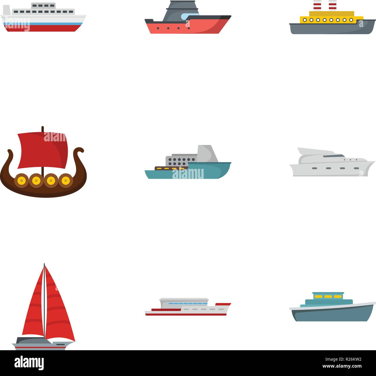 Lifeboat icons set. flat set of 9 lifeboat icons for web isolated on white background - Stock Vector