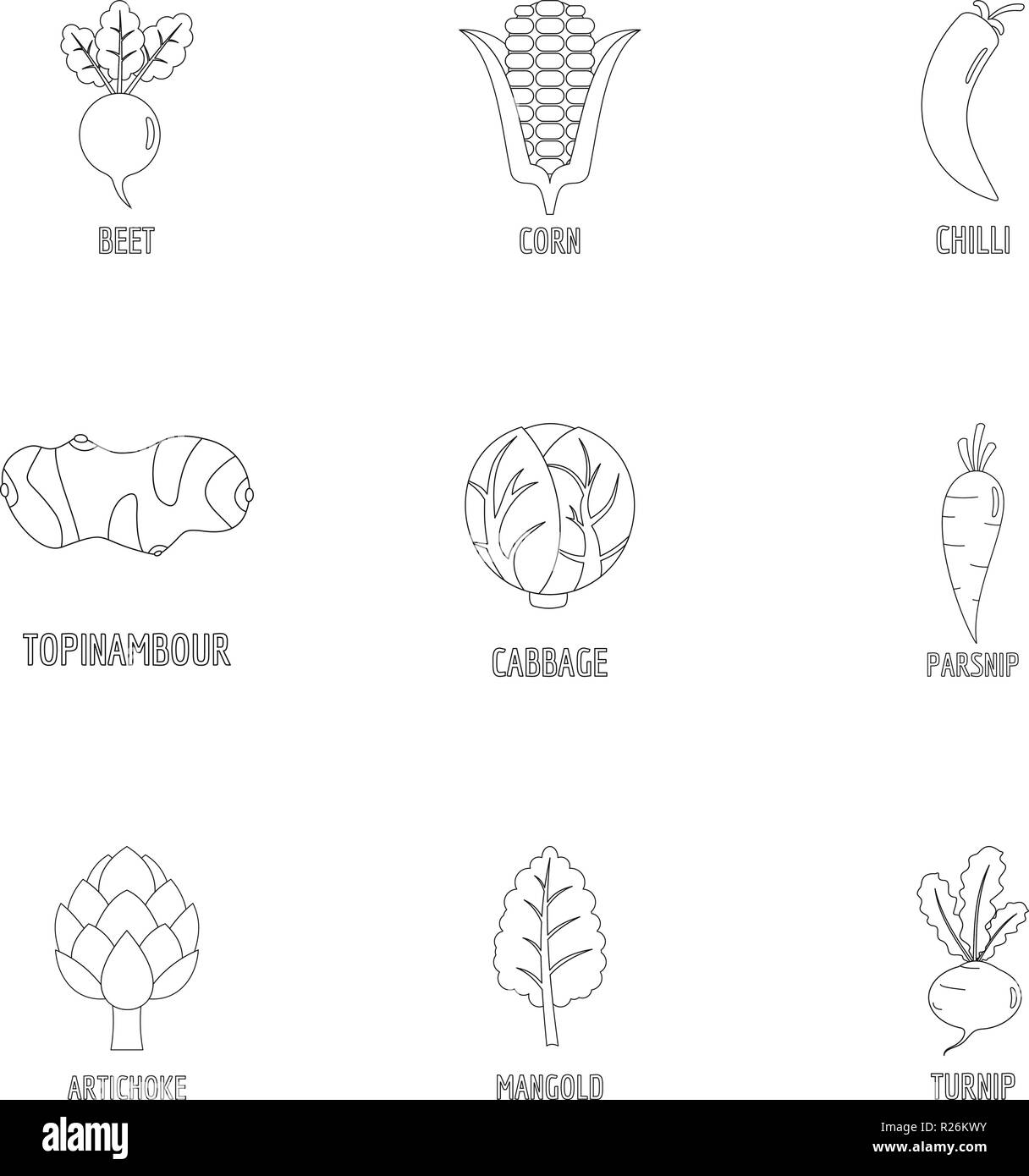 Healthy vegetable icons set. Outline set of 9 healthy vegetable vector icons for web isolated on white background - Stock Vector