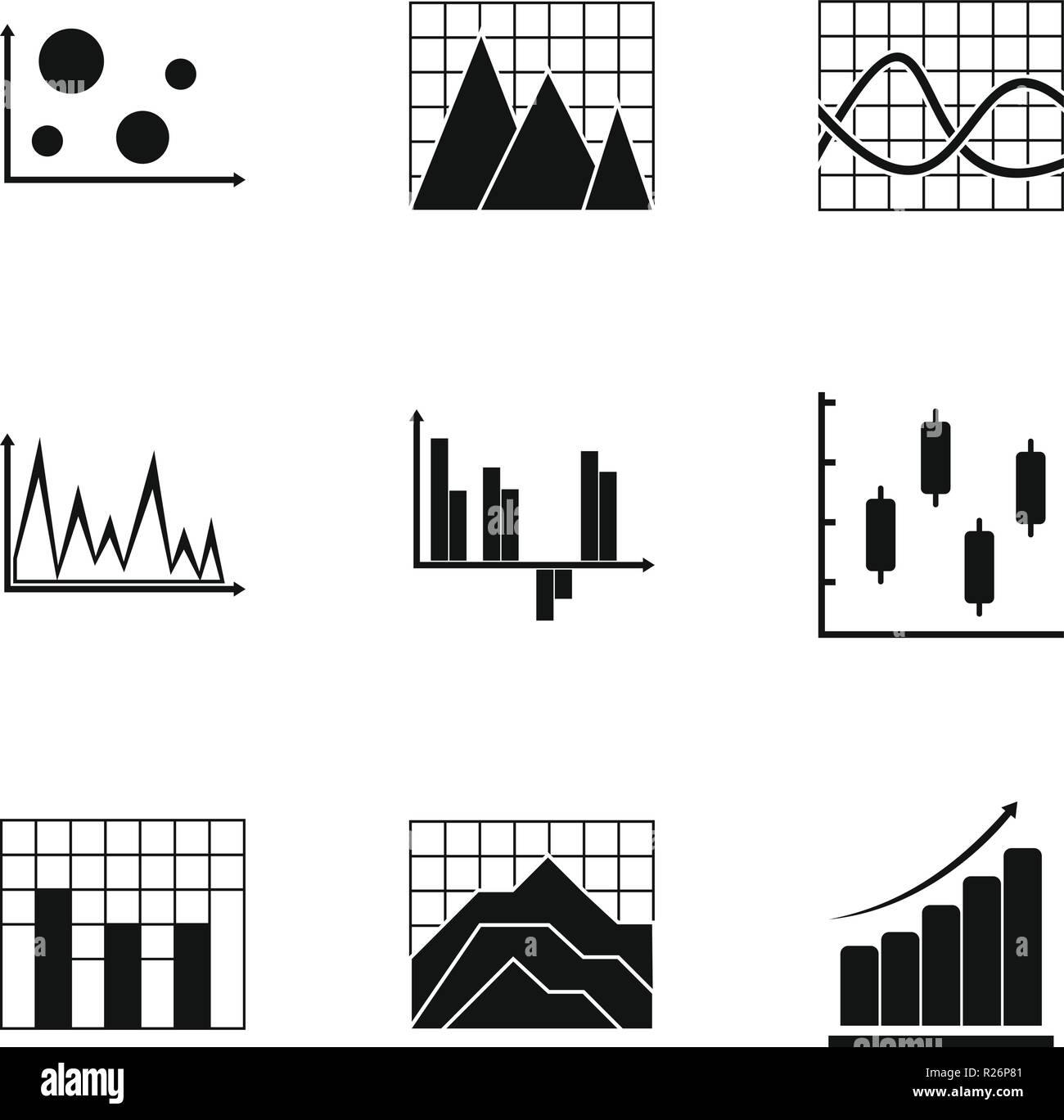 Graph icons set. Simple set of 9 graph vector icons for web isolated on white background - Stock Image