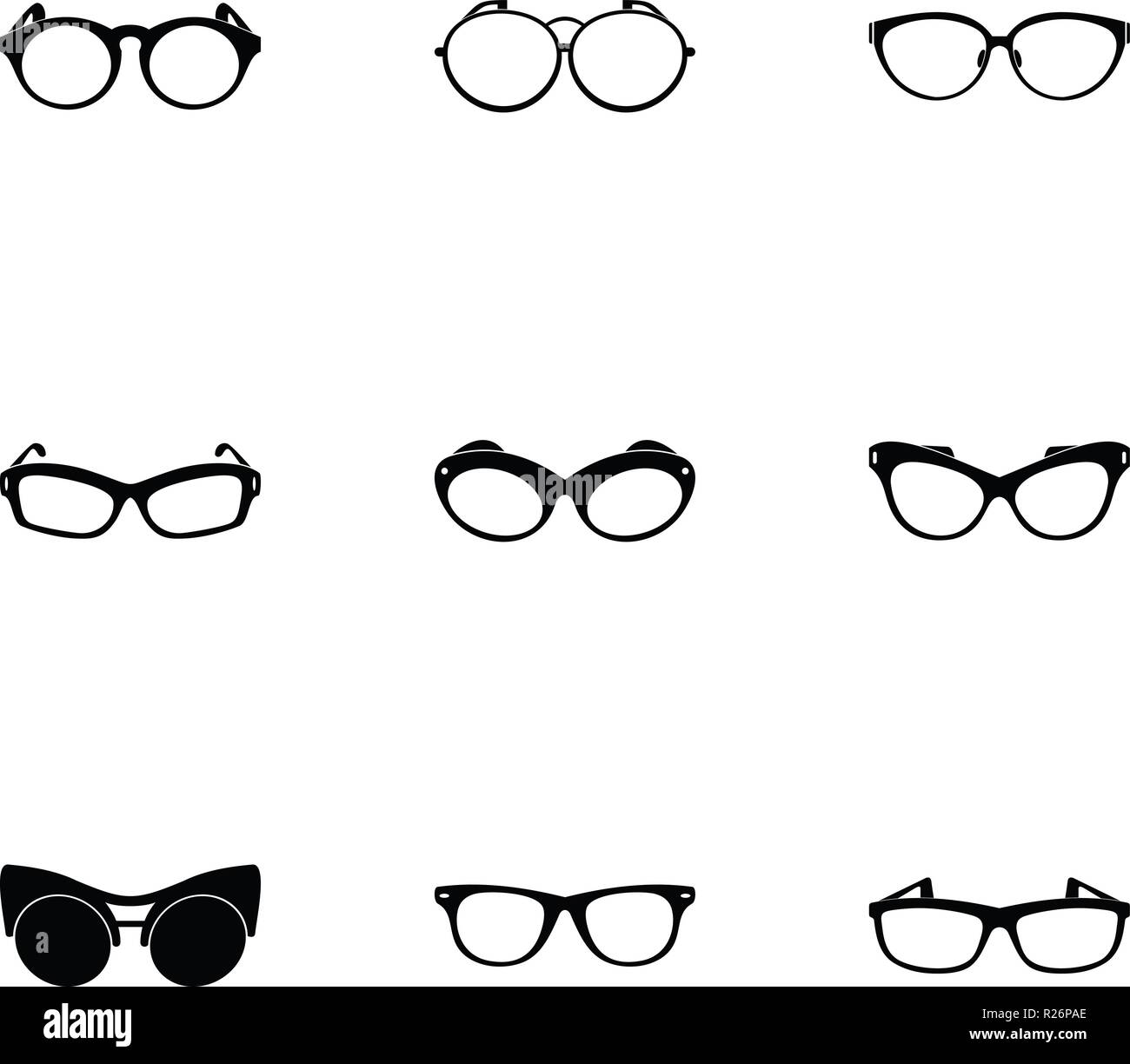 Protective eyewear icons set. Simple set of 9 protective eyewear vector icons for web isolated on white background - Stock Vector