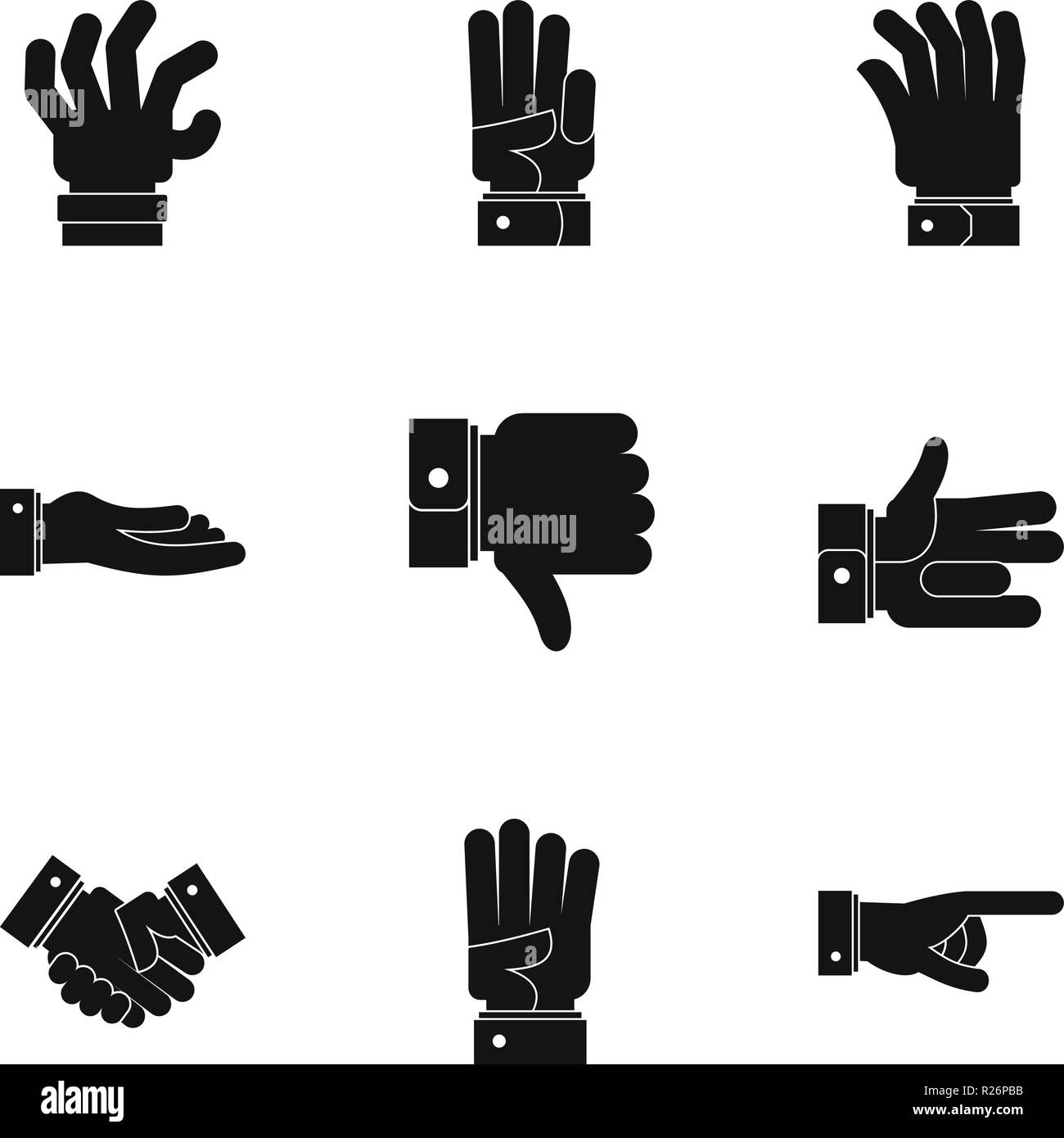 Mime icons set. Simple set of 9 mime vector icons for web isolated on white background - Stock Vector
