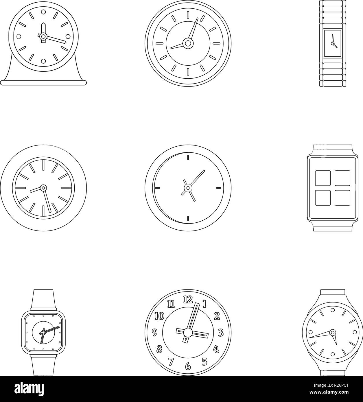 Chronograph movement icons set. Outline set of 9 chronograph movement vector icons for web isolated on white background - Stock Image
