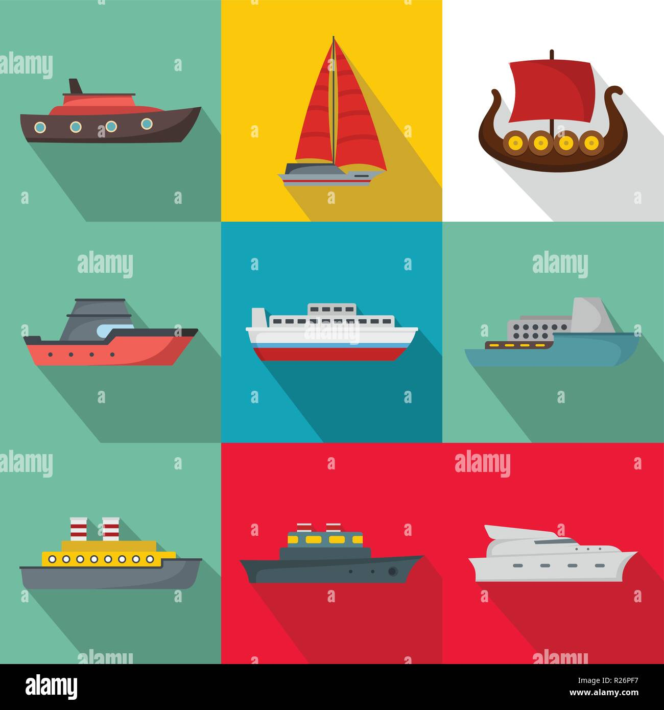 Seagoing vessel icons set. flat set of 9 seagoing vessel vector icons for web isolated on white background - Stock Vector
