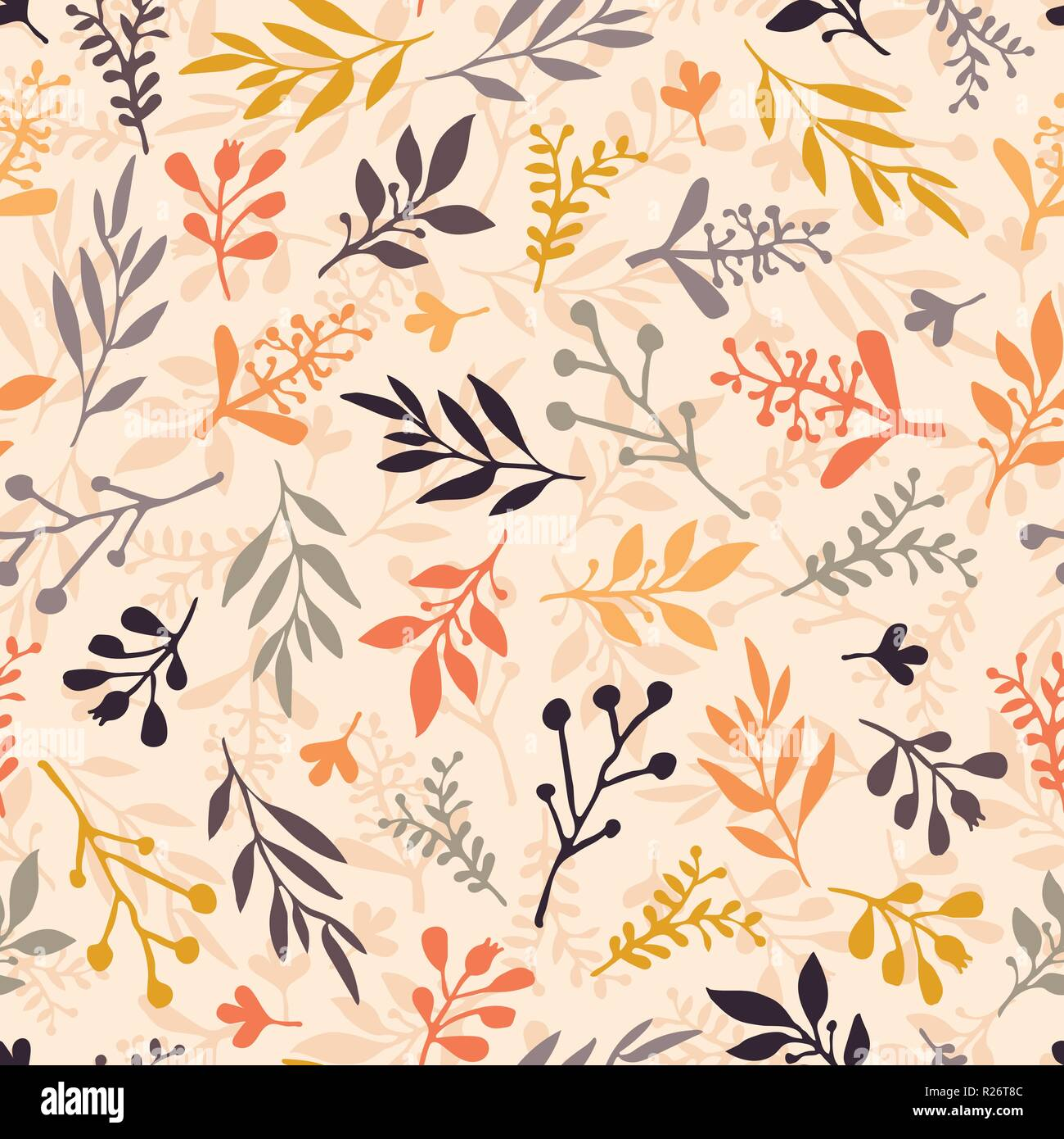 Seamless Vector Pattern With Abstract Leaves Orange Gold