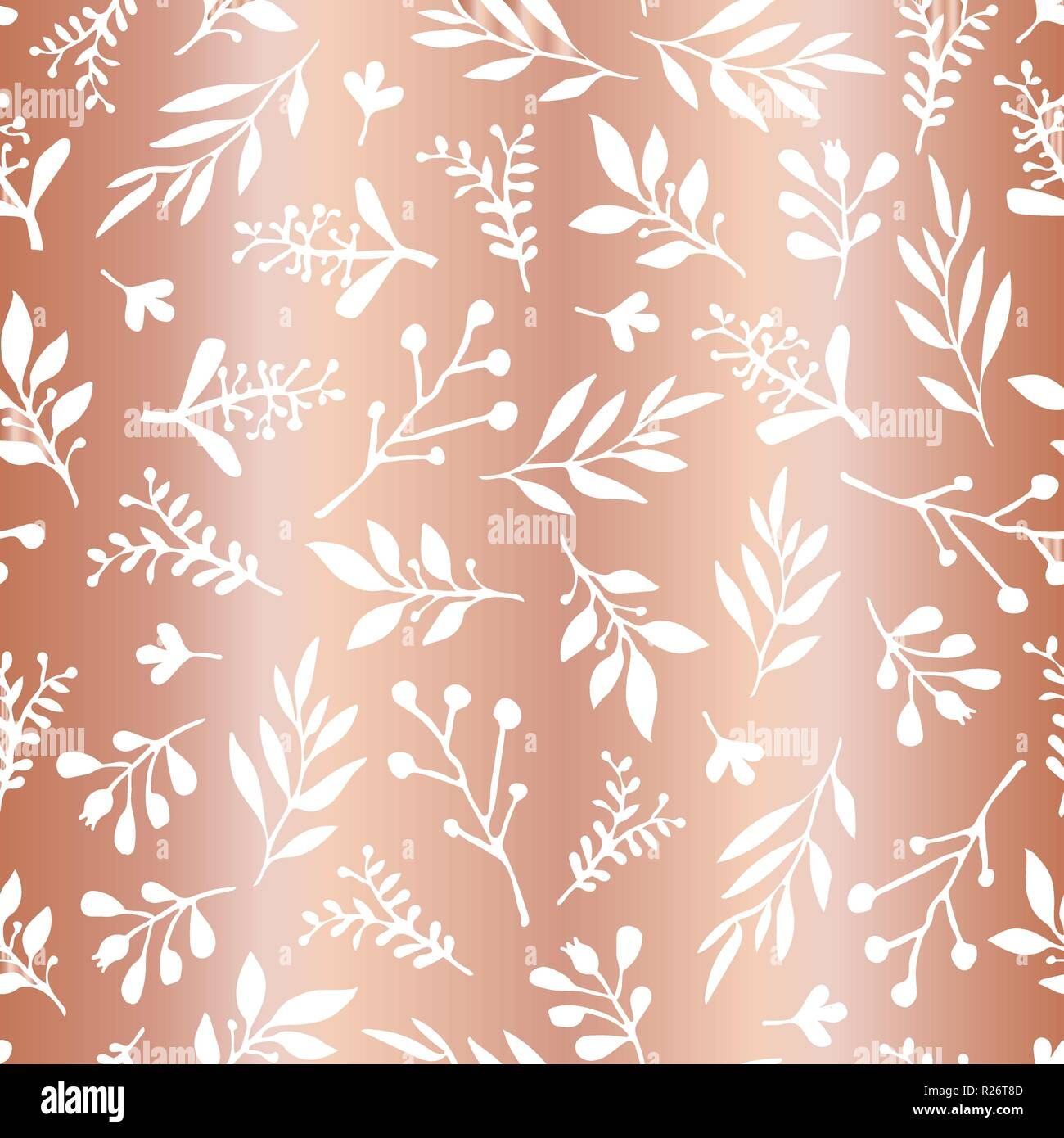 Copper Foil Leaves Elegant Seamless Vector Background Simple Abstract White Leaf On Metallic Rose Gold Foil Texture Endless Foliage Pattern Paper Web Banner Cards Wedding Celebration Invite Stock Vector Image Art