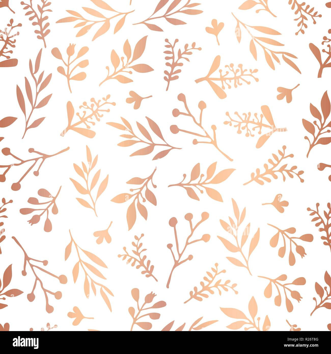 copper rose gold foil florals seamless vector background golden abstract wildflower grass shapes on white background elegant pattern for holidays paper packaging wedding party invite christmas R26T8G
