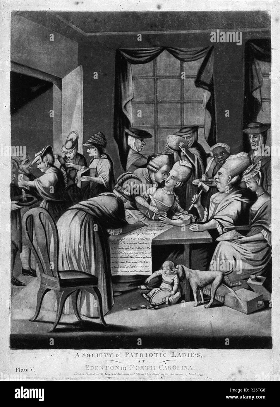 This 1775 British cartoon, A Society of Patriotic Ladies at Edenton in North Carolina, satirizes the Edenton Tea Party, a group of women who organized a boycott of English tea. - Stock Image