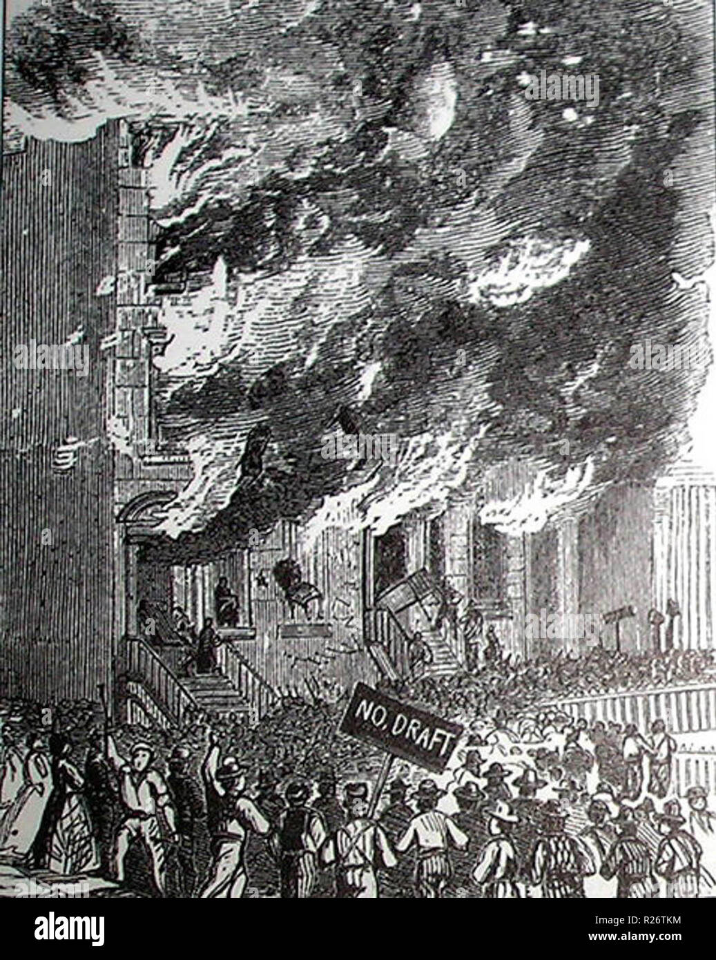 Rioters attacking a building during the New York anti-draft riots of 1863 - Stock Image