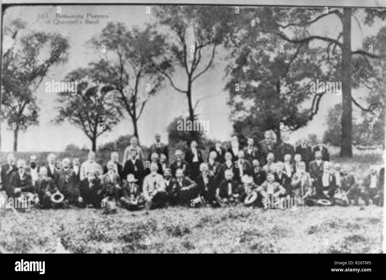 Reunion of Quantrill's Raiders. The first official reunion occurred in 1898, more than 30 years after Quantrill's death and the end of the Civil War. - Stock Image