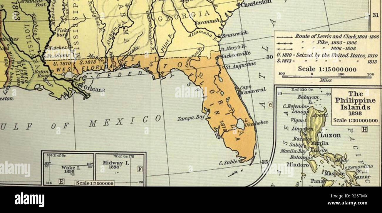 Territorial growth map showing the West Florida districts of Baton ...