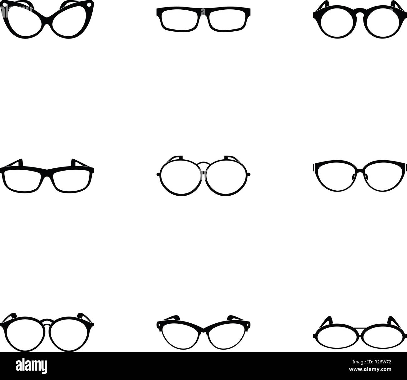 Spectacle icons set. Simple set of 9 spectacle vector icons for web isolated on white background - Stock Vector