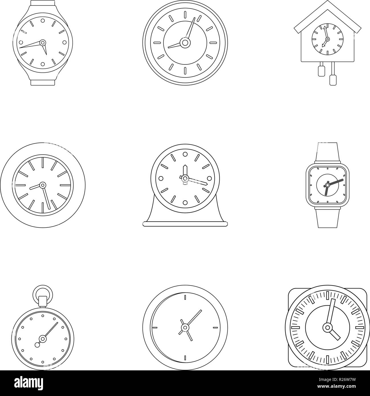 Chronograph icons set. Outline set of 9 chronograph vector icons for web isolated on white background - Stock Image