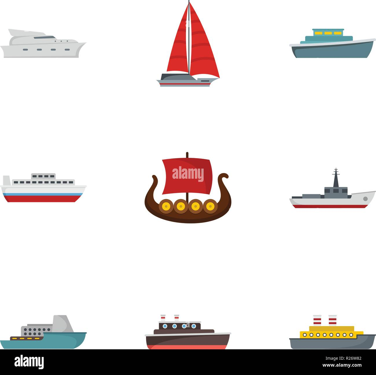 Rescue boat icons set. flat set of 9 rescue boat icons for web isolated on white background - Stock Vector