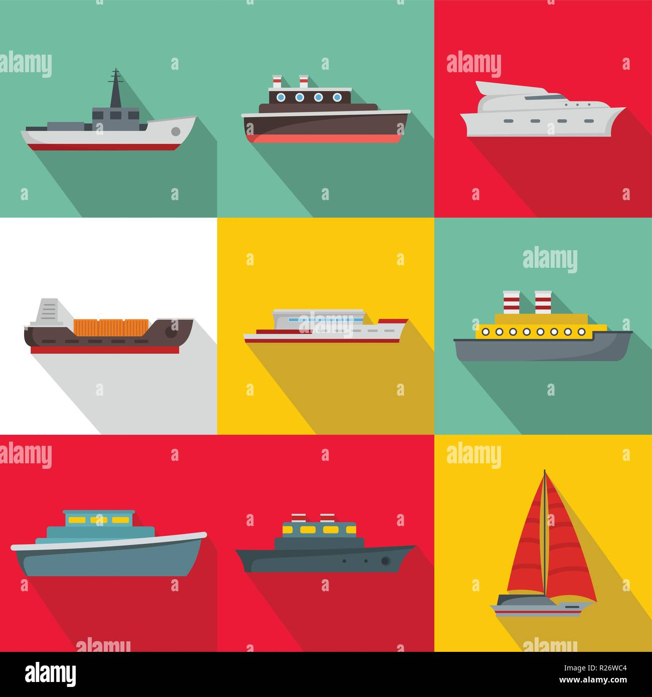 Sea vessel icons set. flat set of 9 sea vessel vector icons for web isolated on white background - Stock Vector